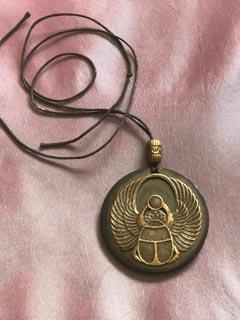Winged Scarab Shungite Backed Necklace